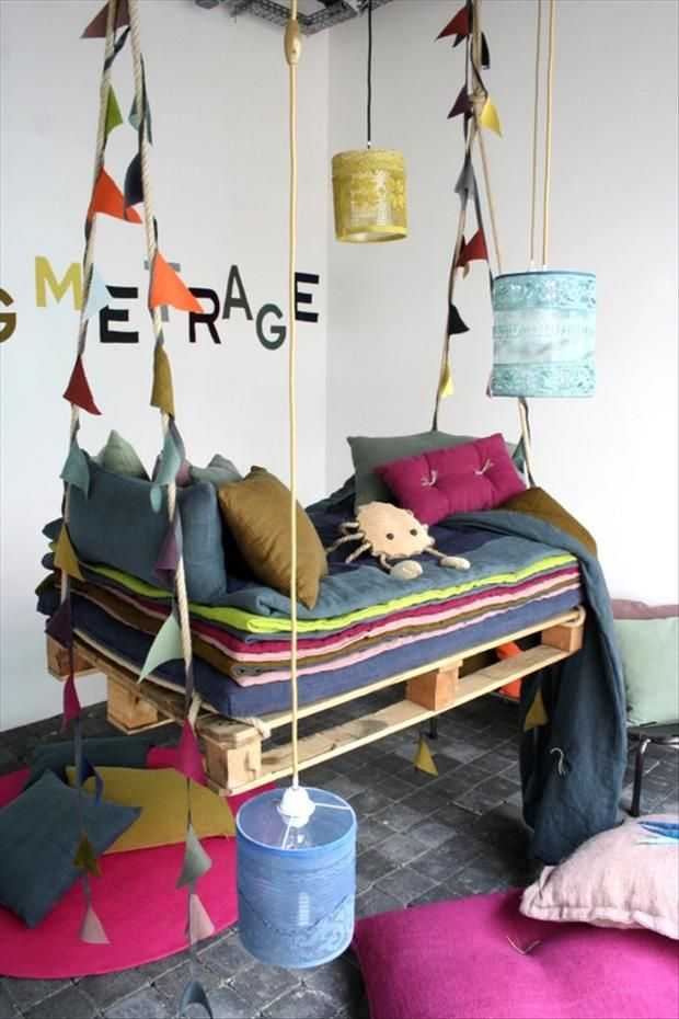 balancoire en palette idéla pour chambre d'enfant - recup - diy