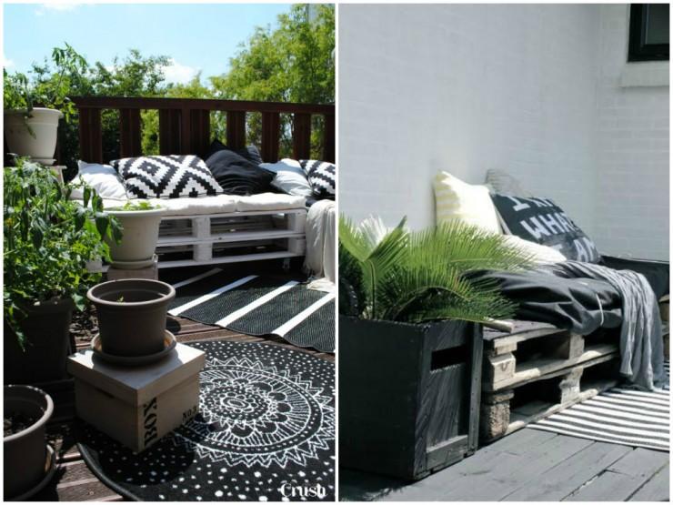 terrasse bohème et scandinave - canapé pour terrasse ou balcon en palette blanche-tapis d'exterieur