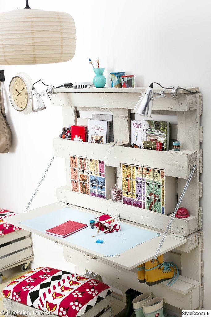 créations palette - bureau en palettes blanche - meuble astucieux - chambre d'enfants - recup et ecolo