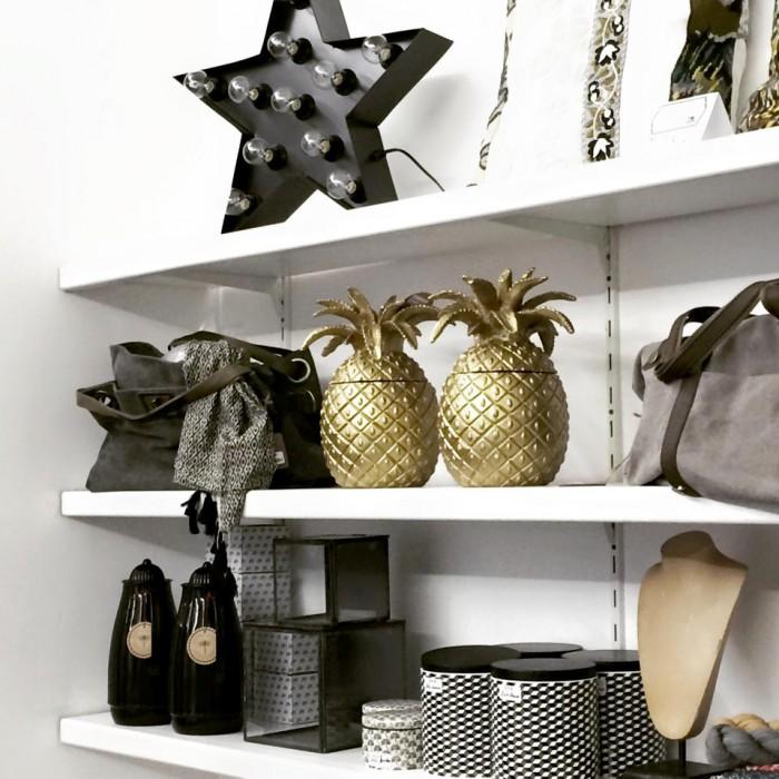 Objets déco - Ananas doré - etoile lumineuse - boites de rangements