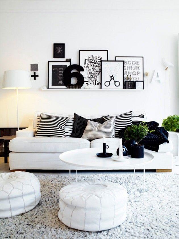 Inspiration séjour noir et blanc à la décoration scandinave