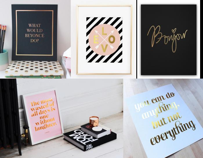 Affiches, poster et cartes, se parent de jolies mots dorés