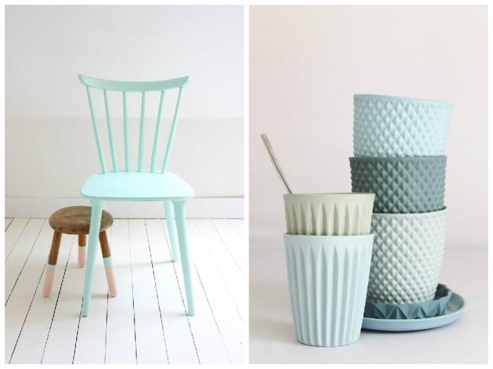 Chaise scandinave vert menthe et art de la table pastel