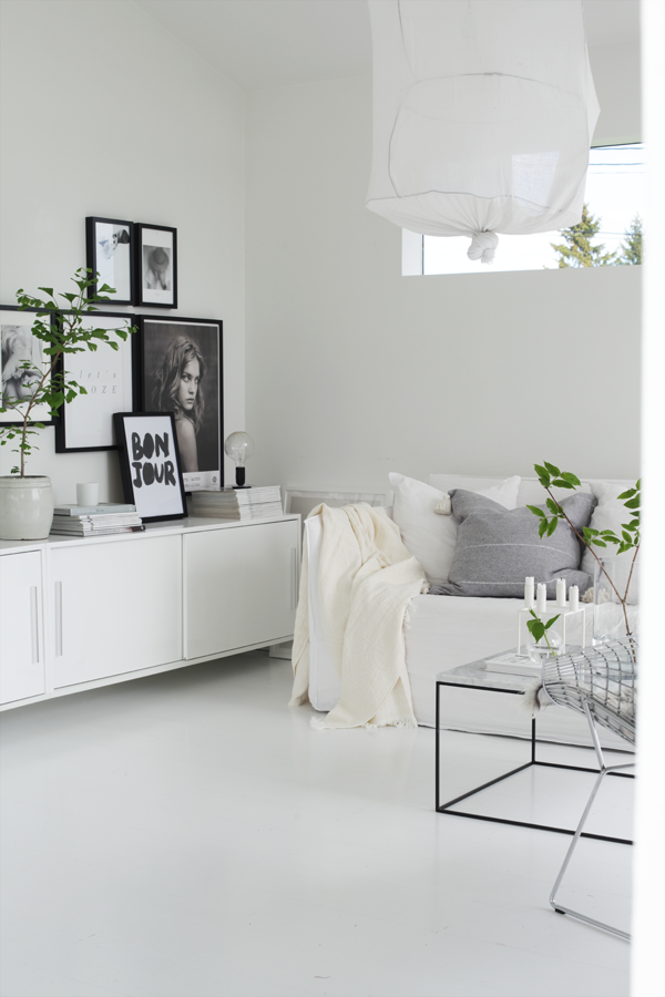 Sejour scandinave blanc et gris suspension tissu