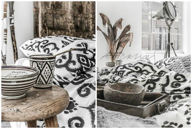 Linge de lit ikat noir et blanc
