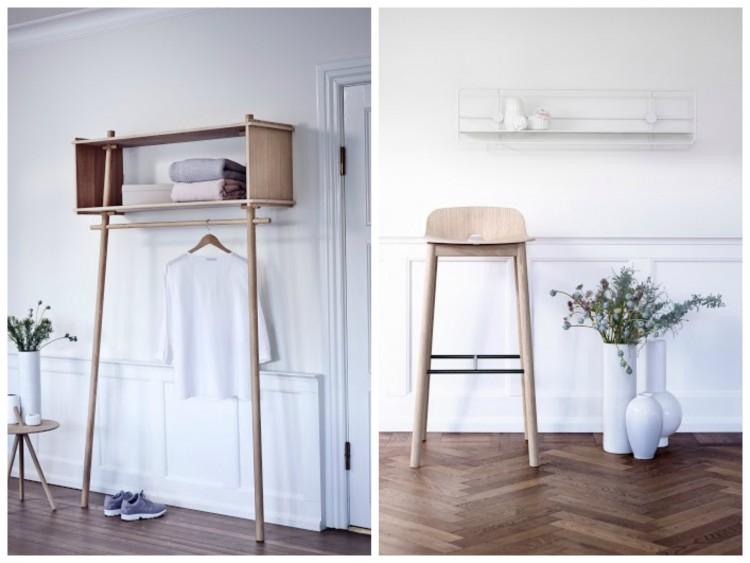 mobilier scandinave. dressing ouvert en bois clair