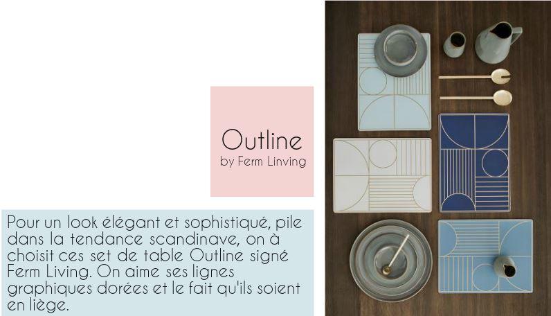 Repérages déco de la semaine... Set de Table Outline by Ferm Living