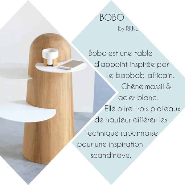 Repérages déco de la semaine... Bobo by RKNL - table d'appoint en chêne massif et acier blanc