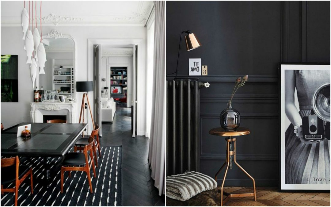 le noir envahit nos murs et nos parquets aventure d co. Black Bedroom Furniture Sets. Home Design Ideas