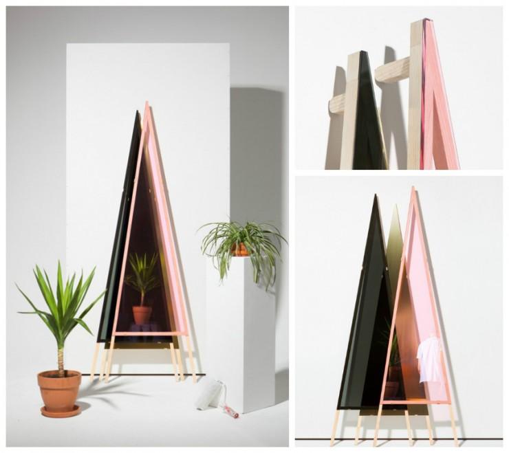 1,2,3 Mirror - Klas Schenk Mischke - Miroir design rose et noir