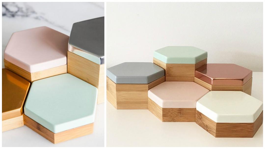 Boites de rangements hexagones aux couleurs pastel