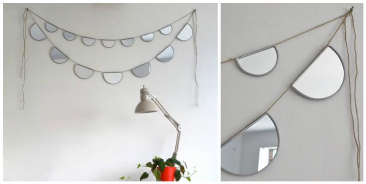 Guirlande de miroirs demi-lune // Boutique Etsy Fluxglass