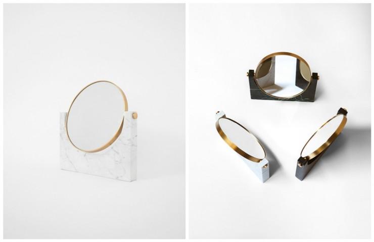 Miroir StudioPepe - Miroir à poser, pied en marbre et contour doré