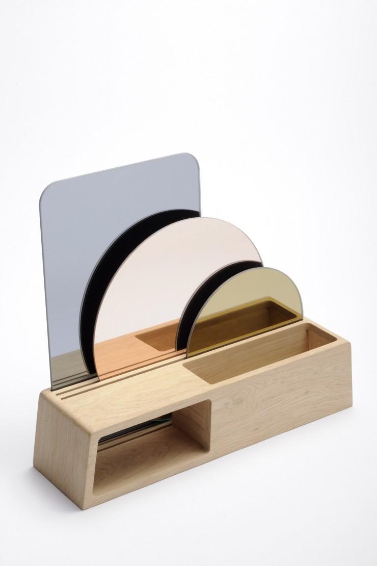 Lutrin 3 miroirs // coming B - Miroir vide poche en verre coloré.