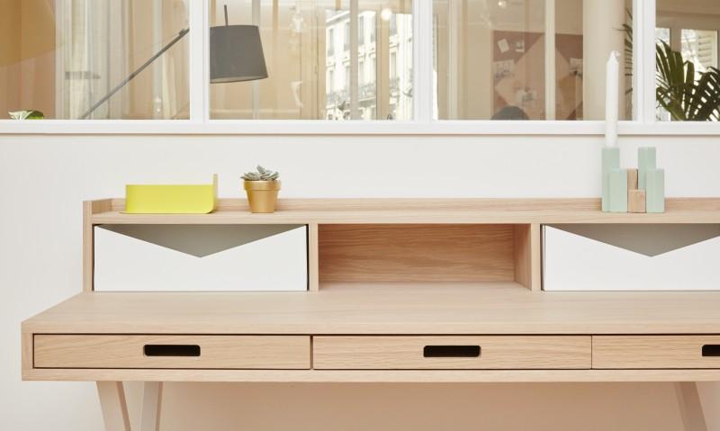 Bureau origami design scandinave bois et blanc