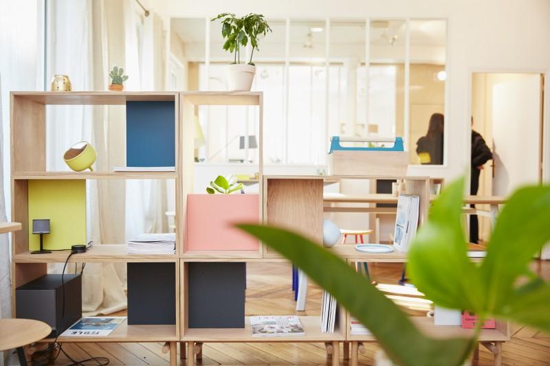 Meuble de separation, bibliotheque aux couleur pastel et au style scandinave