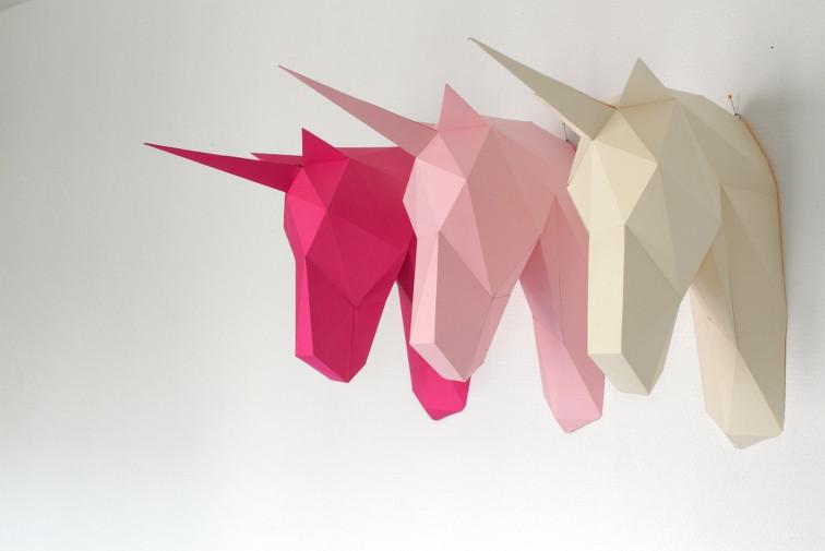 diy-tendance-sculpaper-sculpture-licornes-origami-rose-origami-creme-trophee