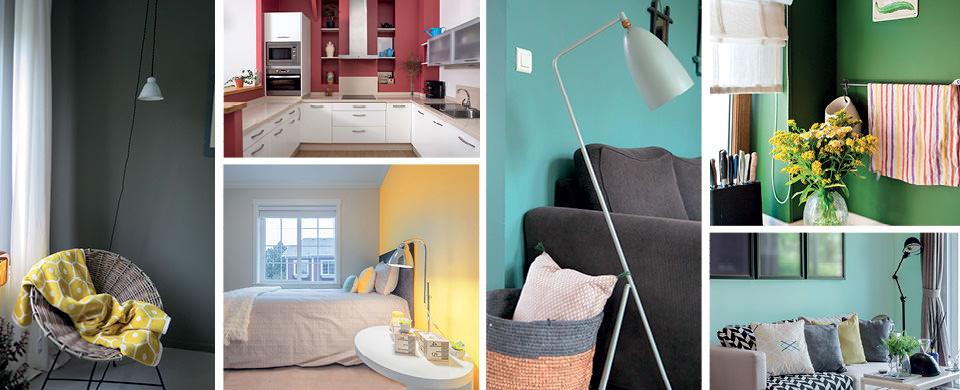 compo-peintures-couleur-chambre-mercadier-salon-lampadaire-gubi-panier-cuisine-rouge-fauteuil-rotin-canape