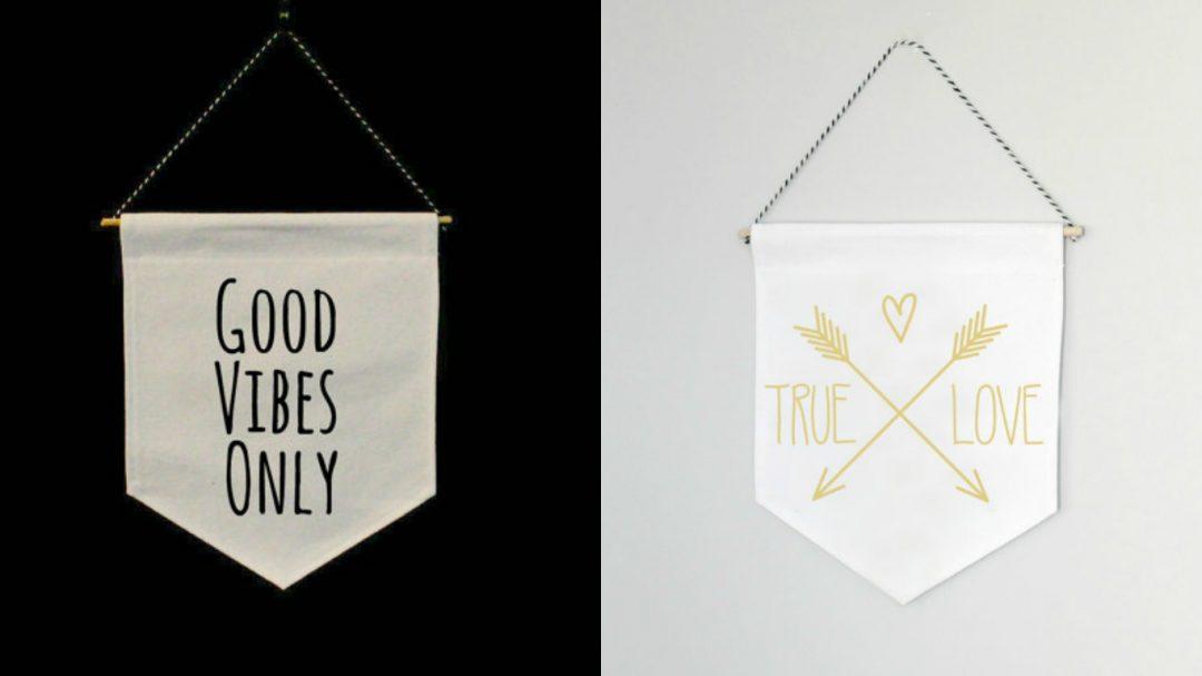 Bannière Good Vibes - Etsy // Bannière True Love - Etsy