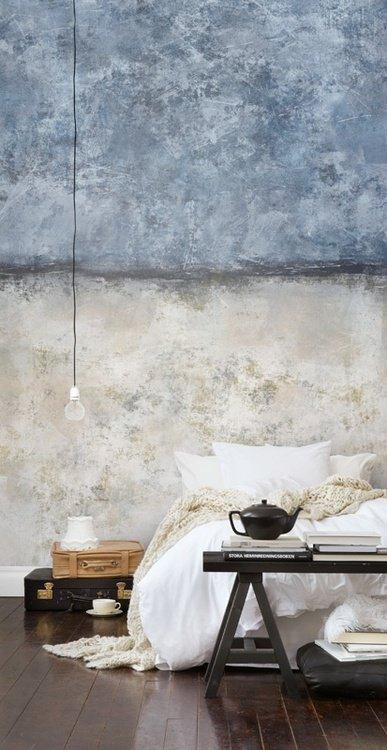 Chambre destroy et grunge, mur tie and dye gris