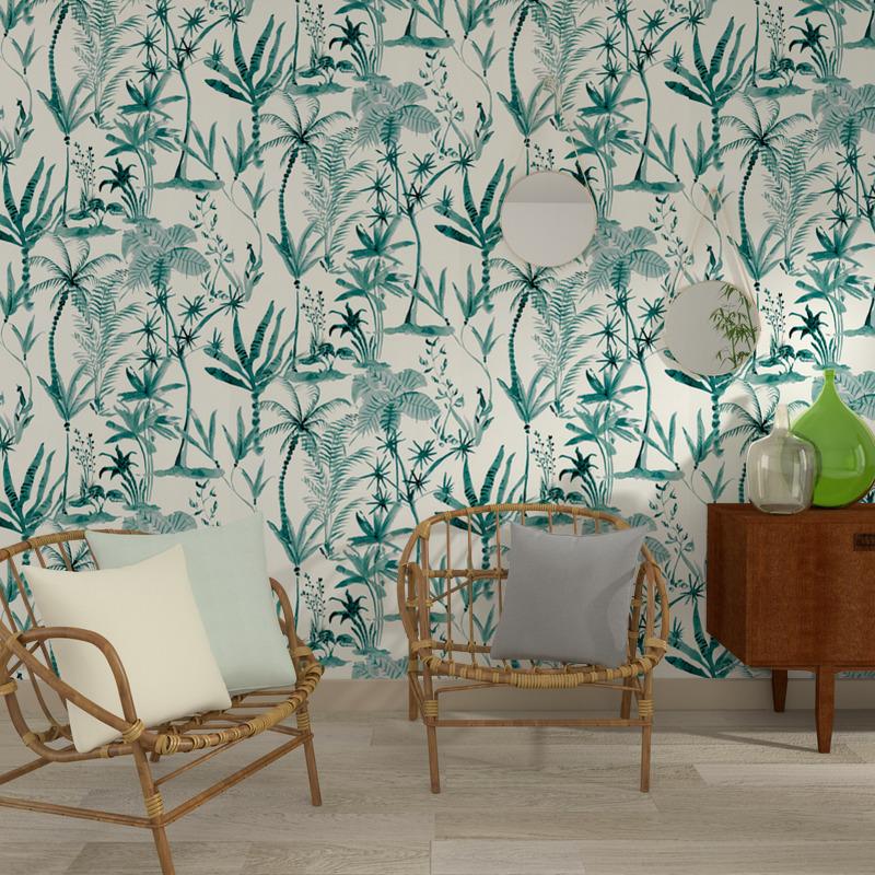 intisse-foglia-coloris-blanc-papier peint tropicaux dans un sejour - mobilier en rotin