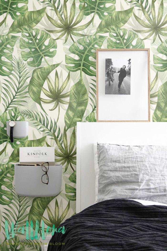 papier feuille de palmier en guise de tete de lit