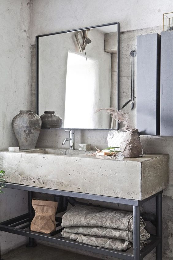 Du béton dans la salle de bain