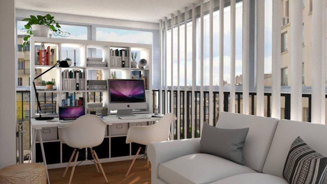 une loggia am nag e en bureau aventure d co. Black Bedroom Furniture Sets. Home Design Ideas