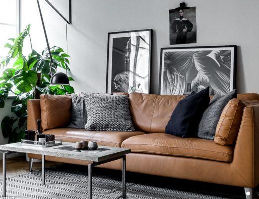 tapis-graphique-noir-et-blanc-canape-cuir-aventuredeco