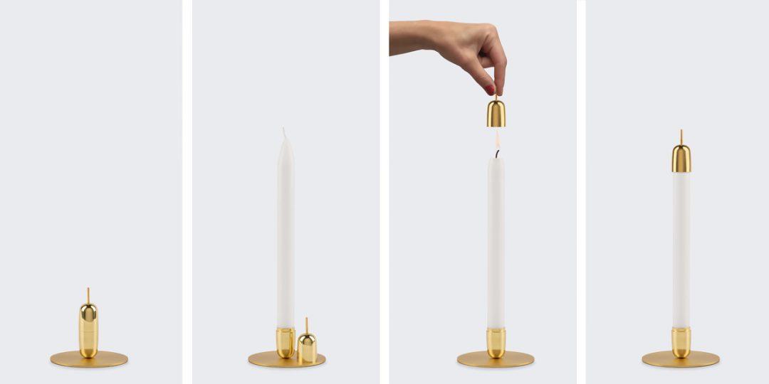 Bougeoir en laiton designé par le Studio Macura