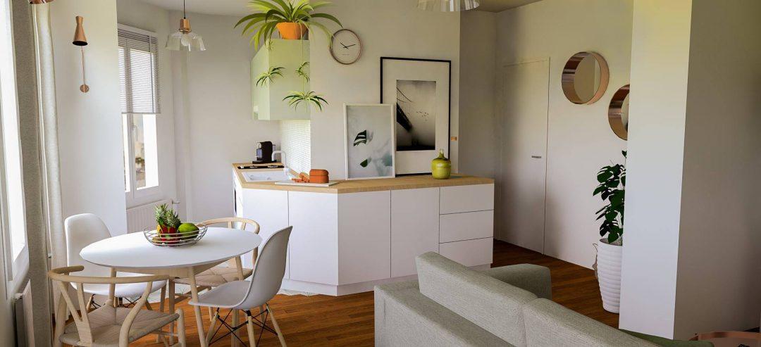 Repenser un séjour en ouvrant la cuisine - Aventure Déco
