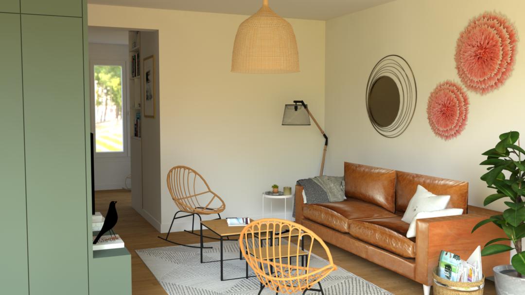 trendy cot salon le meuble devient meuble tv avec rangements et permet de placer le canap dos au. Black Bedroom Furniture Sets. Home Design Ideas