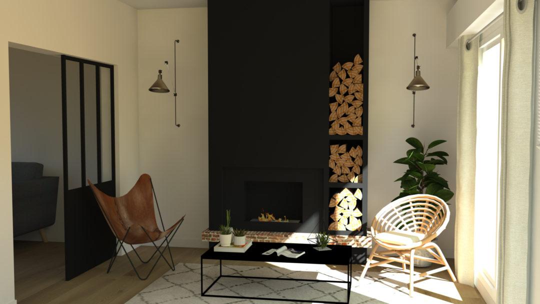 Deco Salon Avec Poele. Stunning Chemine Matisse Avec Banquette With