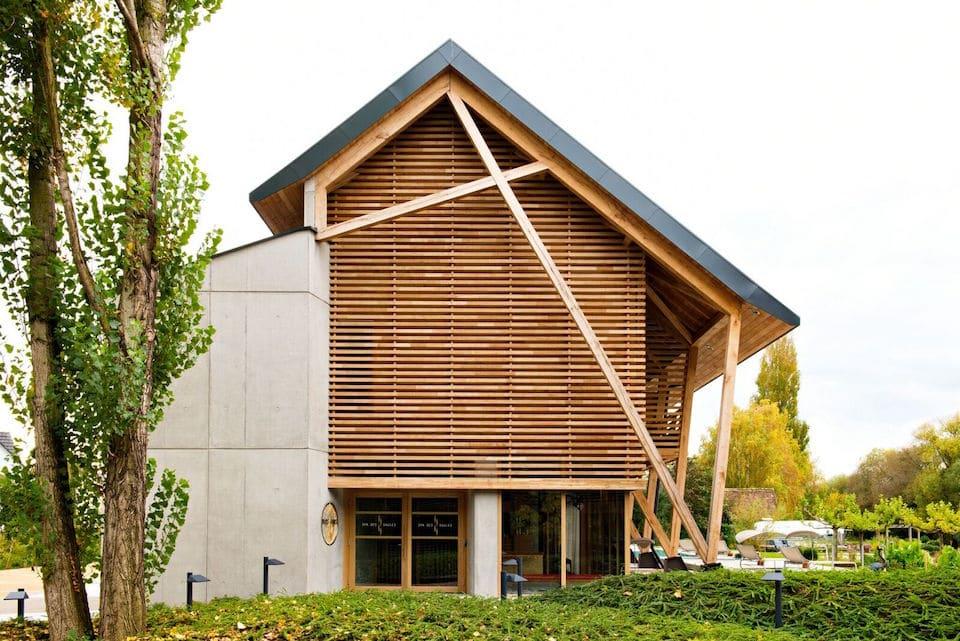 Hôtel des Berges et Spa, architecture en bois