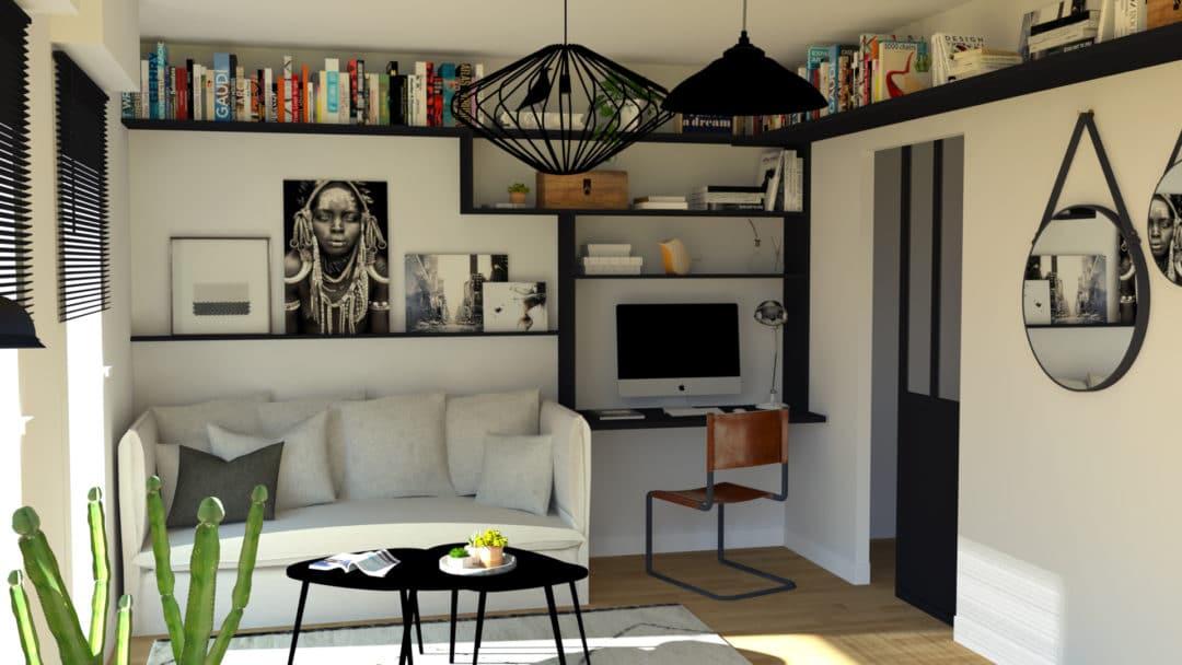 int grer un coin bureau dans le salon aventure d co. Black Bedroom Furniture Sets. Home Design Ideas