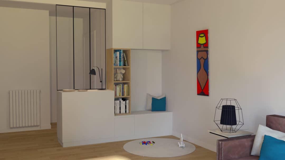Un salon familial et fonctionnel - Meuble sur-mesure pour délimiter l'entrée du salon.