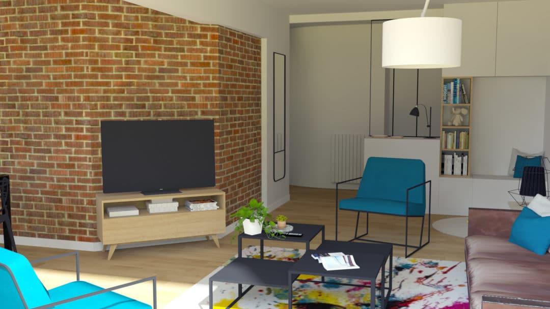Un salon familial et fonctionnel par Jessica Venancio pour Teva Deco - 3D photoréaliste