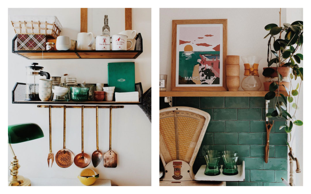 Décoration de cuisine cuivré et vert émeraude
