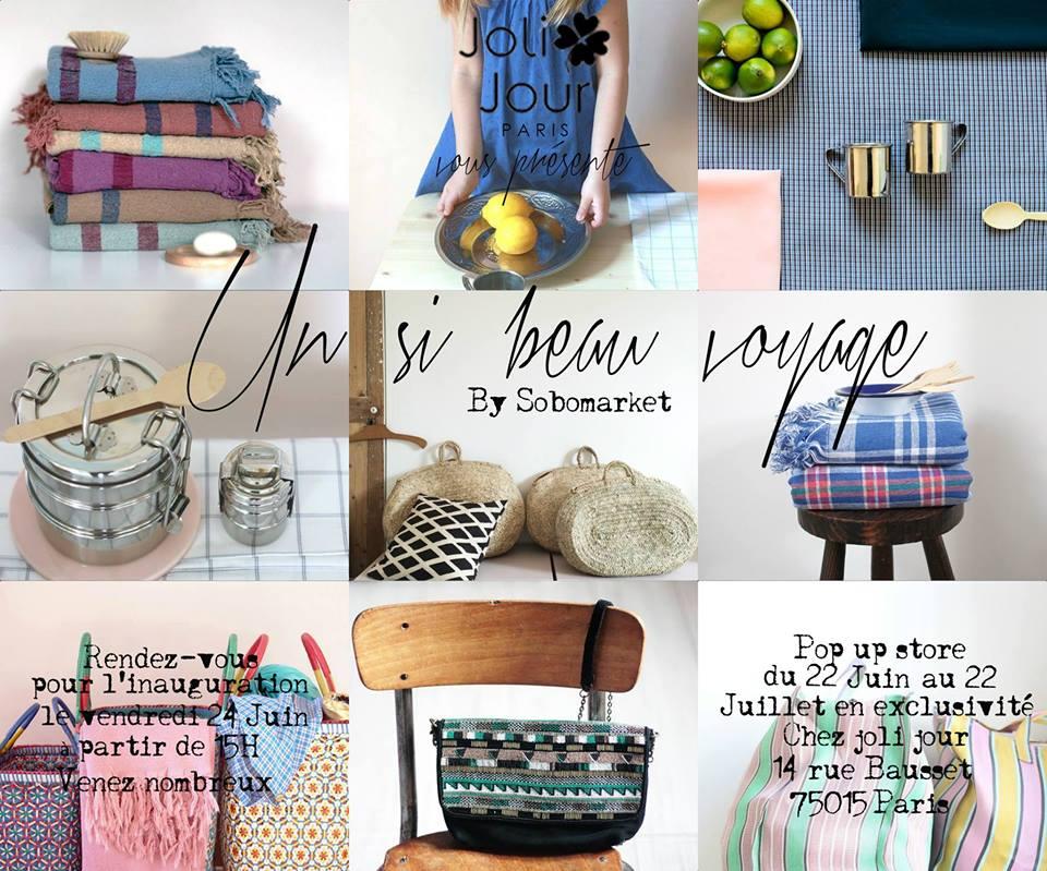 """Chez Joli Jour Paris, boutique de décoration, venez découvrir le Pop Up Store """"Un si beau voyage"""""""