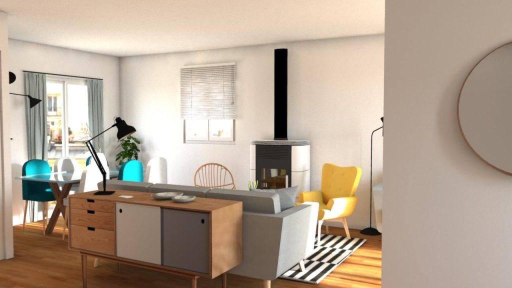 Un Salon familiale tout en longueur transformé par Jessica Venancio du blog Aventure Deco pour Teva Deco