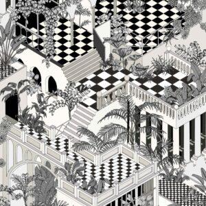 Papier peint Miami en version noir et blanc.