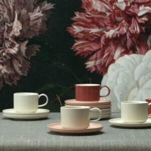 Tasse à cappuccino & soucoupe Loop blanc – Jansen+co