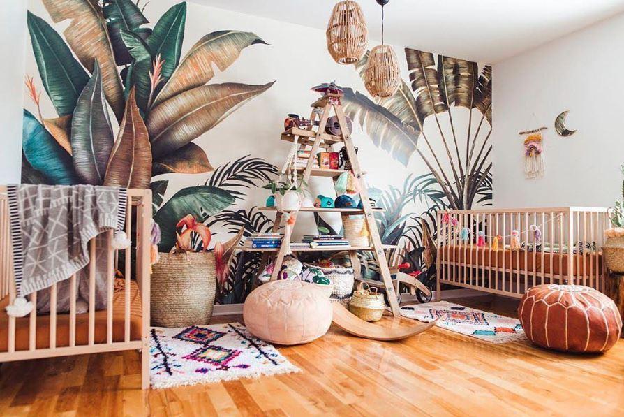 Du papier peint tropical pour une chambre d enfant - Papier peint pour chambre d enfant ...