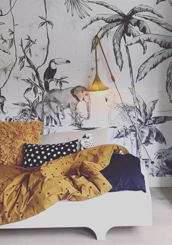 Papier Peint Tropical Noir Et Blanc Pour Chambre D Enfant Jessica Venancio