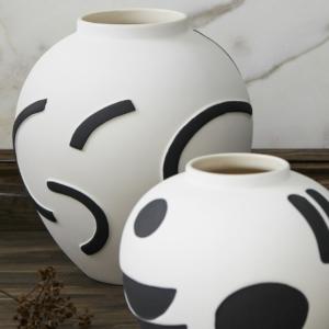Vase peint en grès